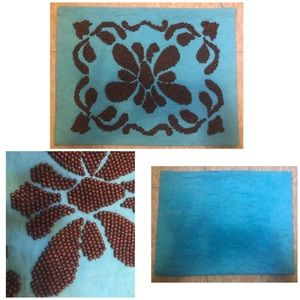 Wooden Beaded Turquoise Pillowcase